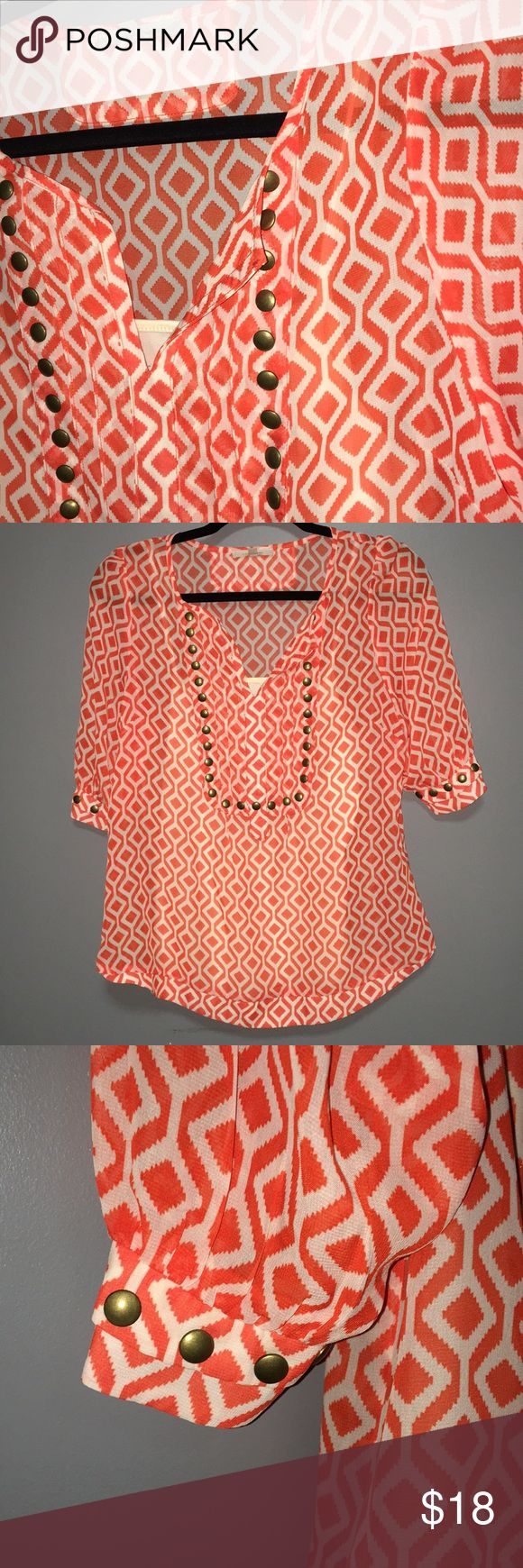 "41 Hawthorn Moni Geo Studded sheer blouse Size small 41 Hawthorn sheer blouse from stitch fix. Excellent condition. Geometric pattern in orange and white with a bib front lined by brass buttons.  Sleeves feature brass buttons.  Includes off white camisole attached to inside of shirt.   100% polyester. Hand wash cold tumble dry low.   Armpit to armpit: 18"" Shoulder to hem: 25.5""  All measurements are approximate.  T145 Tops Blouses"