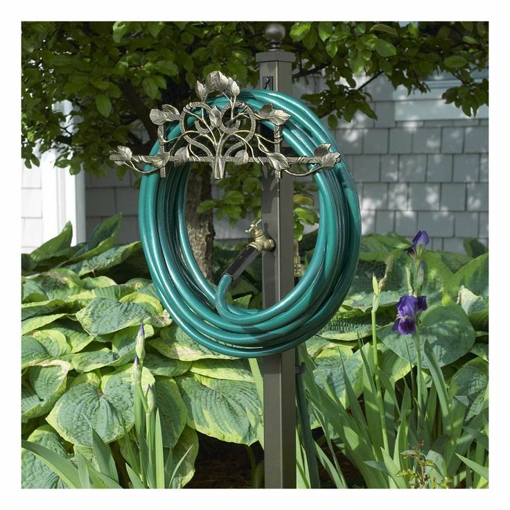 Decorative Garden Hose Holder With Outdoor Faucet