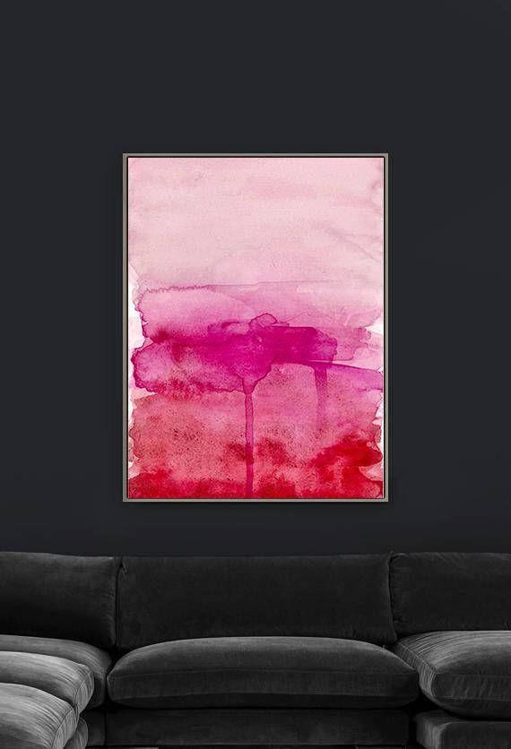 Pink Watercolor Gradient Print Abstract Art Millennial Pink Wall Art Blush Pink Art Hot Pink Red Pink Abstract Art Pink Art Print Pink Wall Decor