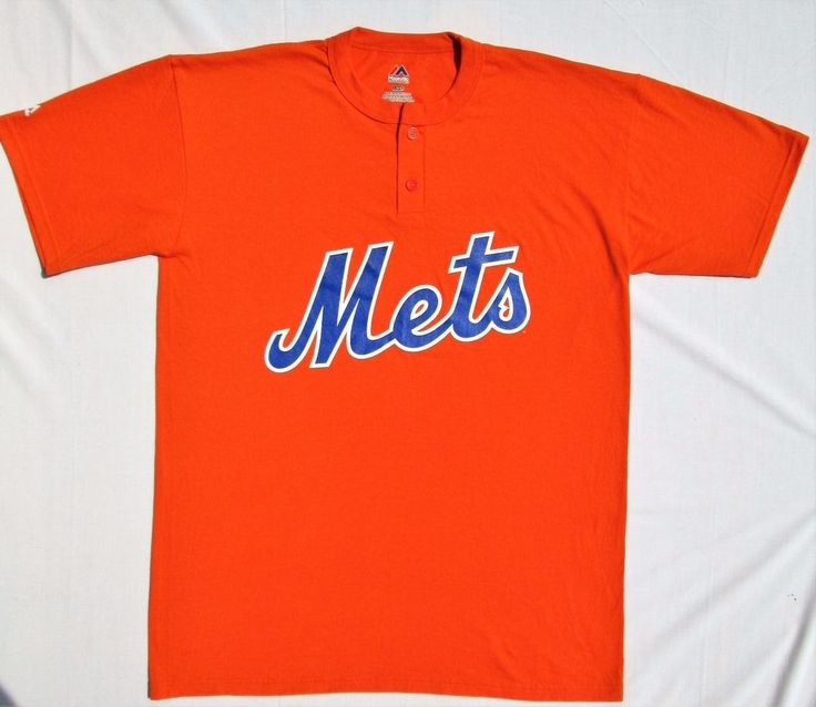 NEW YORK METS Men's Size Large MLB Baseball Jersey Orange Logo Majestic  T-SHIRT
