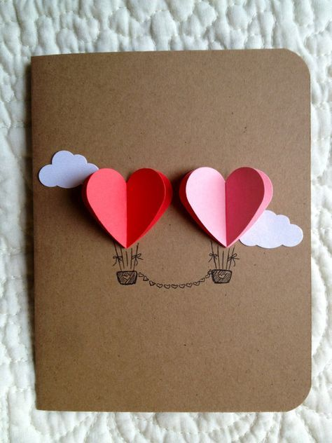 Couple Heart Hot Air Balloon Card ( red / pink )