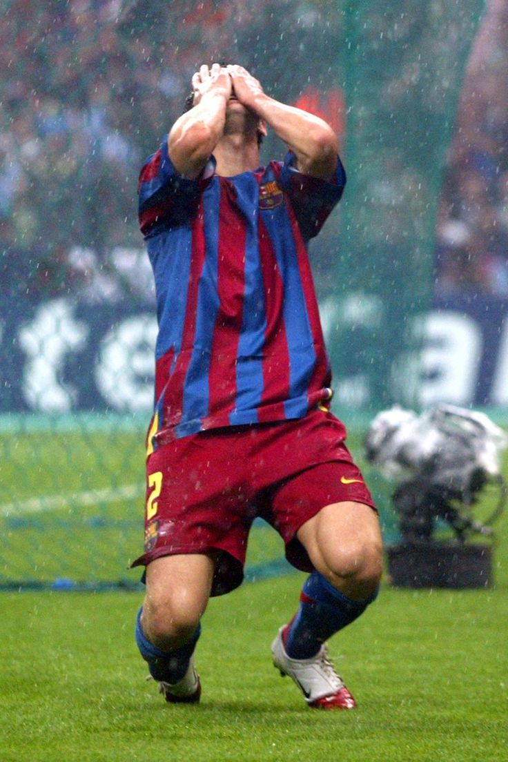 Juliano Belletti celebrates after scoring the second goal against Arsenal in the 2006 Champions League final.