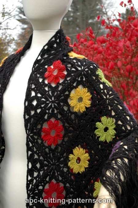 ABC Knitting Patterns - Rainbow Flowers Motif Shawl