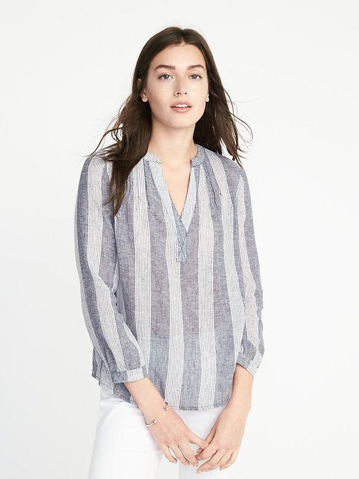 b7f5a57a34446 Relaxed Linen-Blend Striped Top