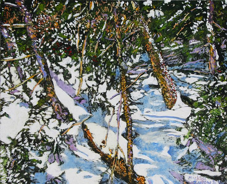 """colour rhythms of sunlight in the forest 16"""" x 19"""" micheal zarowsky / Mixed media (watercolour / acrylic painted directly on gessoed birch panel)  Available $750.00"""