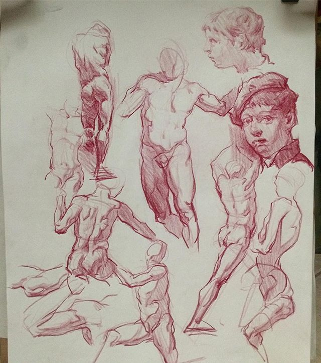 A few quick master studies sketches. Focusing on capturing gesture and structure and the simplest possible ways. Michelangelo, Pontormo, Piazzetta, Egon Schiele -- can you guess which is which?  #sketch #light  #figure  #art #artwork  #fineart #arte #anim