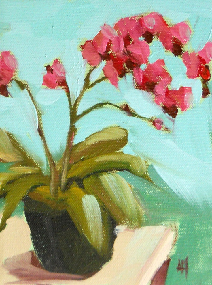 pink orchids original still life floral oil painting by moulton on canvas 6 x 8 inches prattcreekart