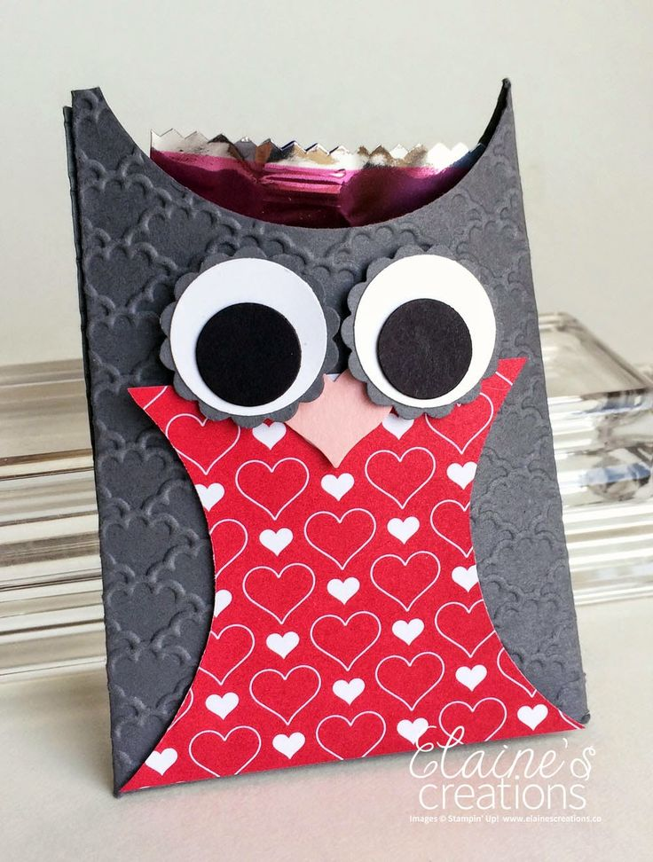 Stampin' Up! Valentines Projects for a Kid's Class - Owl Candy Pouch Elaine's Creations