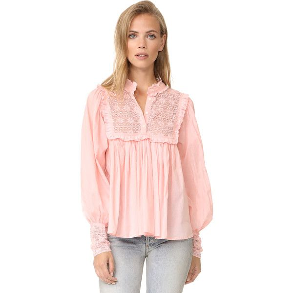 Antik Batik Gaia Blouse (212 AUD) ❤ liked on Polyvore featuring tops, blouses, pink, high neck lace top, pink lace top, high neckline tops, ruched top and ruched blouse