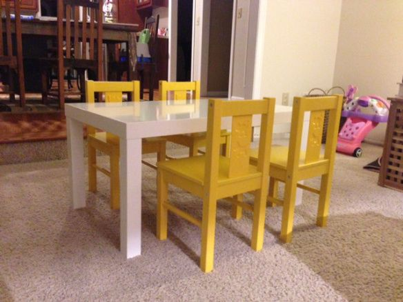 Ikea Lack Coffee Table (don't attach bottom shelf) $24.99... & critter chairs $14.99/each -painted yellow)!!