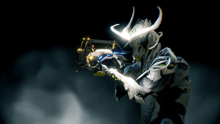 Warframe Oberon holding Burston Prime