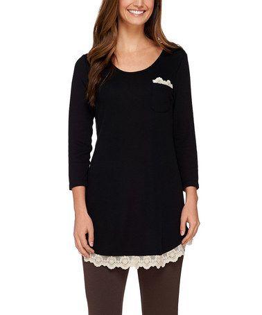 Look at this #zulilyfind! Black Lace-Trim pocket Tunic #zulilyfinds