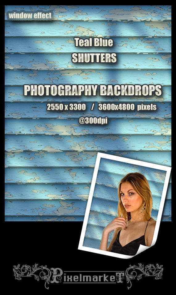 Photography BACKDROPS Teal Blue SHUTTERS Chroma Key by pixelmarket, €5.50