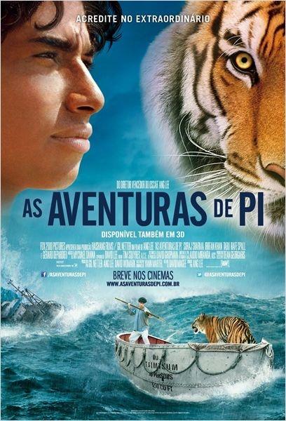 AS AVENTURAS DE PI O filme, inspirado no livro de sucesso de Yann Martel, A Vida de PI, conta a história de um jovem indiano que, após um naufrágio, luta para sobreviver em um bote salva-vidas ao lado de um tigre-de-bengala