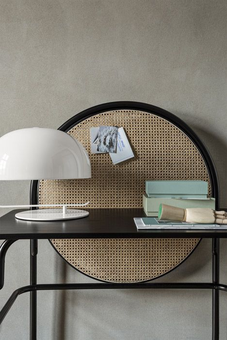 The 'allegory' desk features a bent beech wood construction and is characterized by a woven cane screen. The circular mesh screen allows users to hang memos and notes. 2016 trend spotting: cane. melaniemorel.com