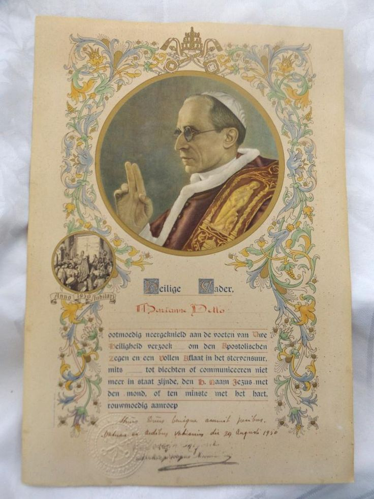 1950 Pope Pius XII Autographed Blessing Papal Indulgence