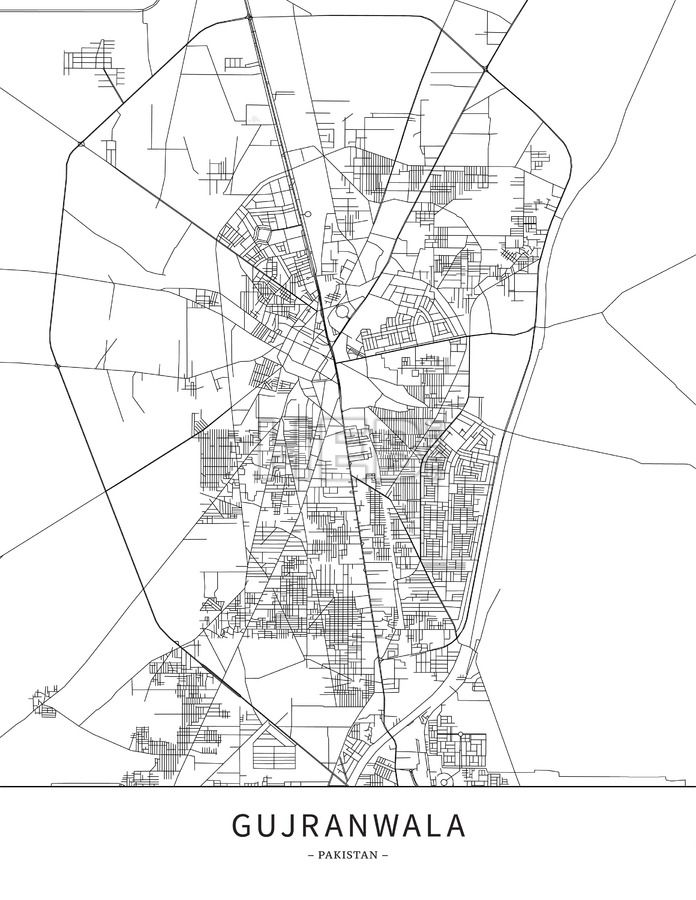 Gujranwala, Pakistan, Map poster borderless print template.  Black streets, railways and grey water on white. This map will show only basic shapes for... ... #download #poster #map #stockimage #graphic #cityposter #citymap #city