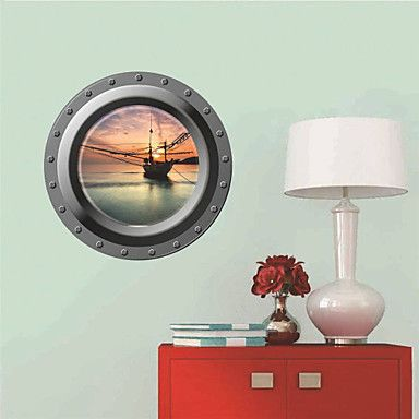 This 3D Sailing Vessel Window  Wall Sticker is pretty cool right?