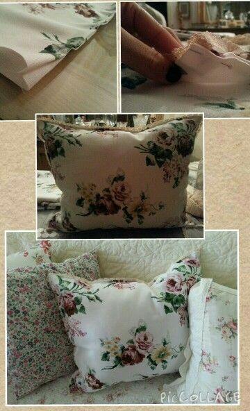 Floral Lace trim pillow.