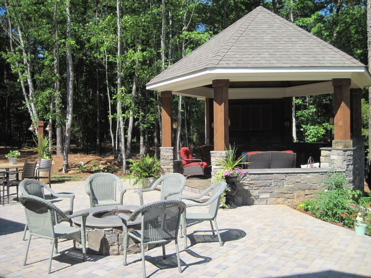 Gazebo With An Outdoor Kitchen Inside It And A Paver Patio With A Stone  Fire Pit By Archadeck Of Charlotte | Porches In The Charlotte NC Area |  Pinterest ...
