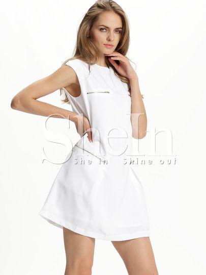 Shop White Cap Sleeve Zipper Dress online. SheIn offers White Cap Sleeve Zipper Dress & more to fit your fashionable needs.