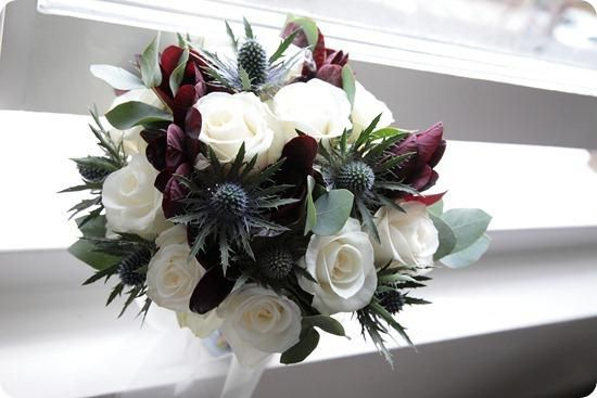 wedding flowers, thistle and roses