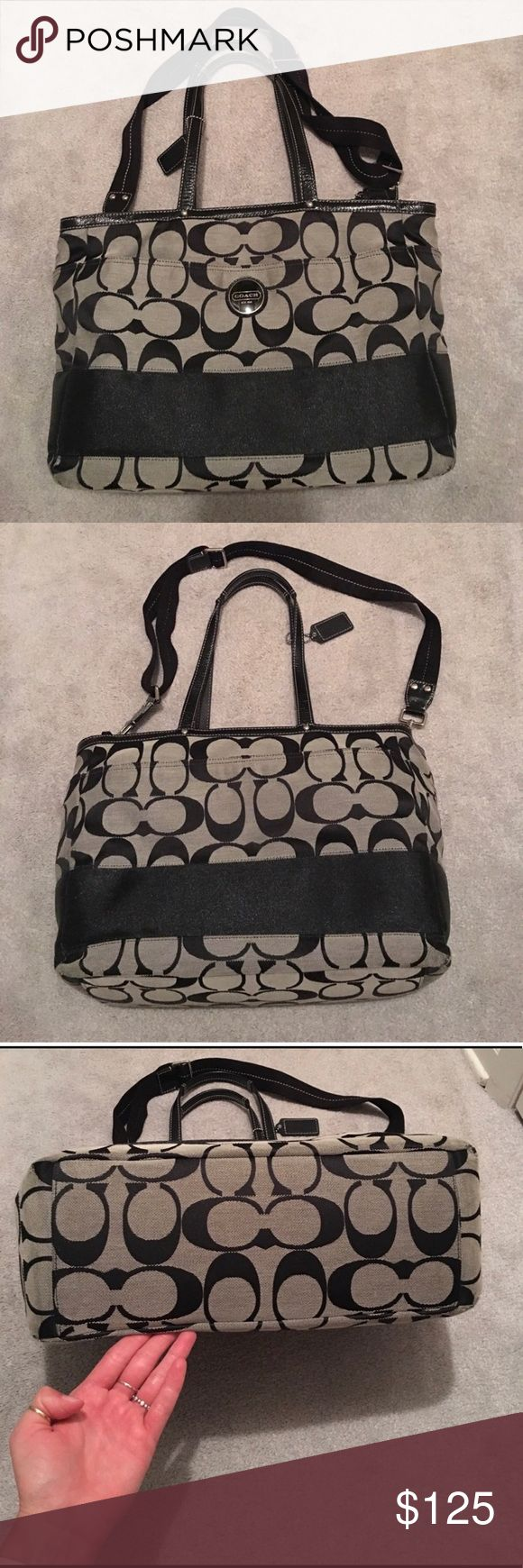 Coach Tote Bag Coach tote bag - great condition minus some wear around corners and on strap as seen in last picture. Has front and back pockets. Long strap as well as short strap. Has inside compartment and one zippered compartment. 15in Wide x 11in Height x 6in Deep. Would make a great purse, tote bag, school bag or diaper bag. Coach Bags