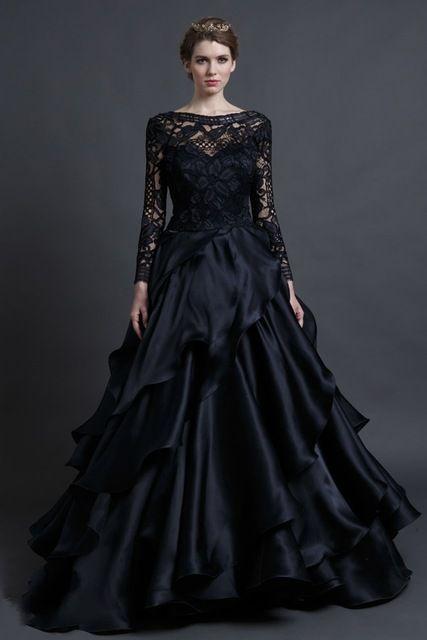Black Lace Wedding Dress Hochzeitskleid Princess Ruched Elegant Long Sleeve Gothic Bridal Gowns Trouwjurken 2015