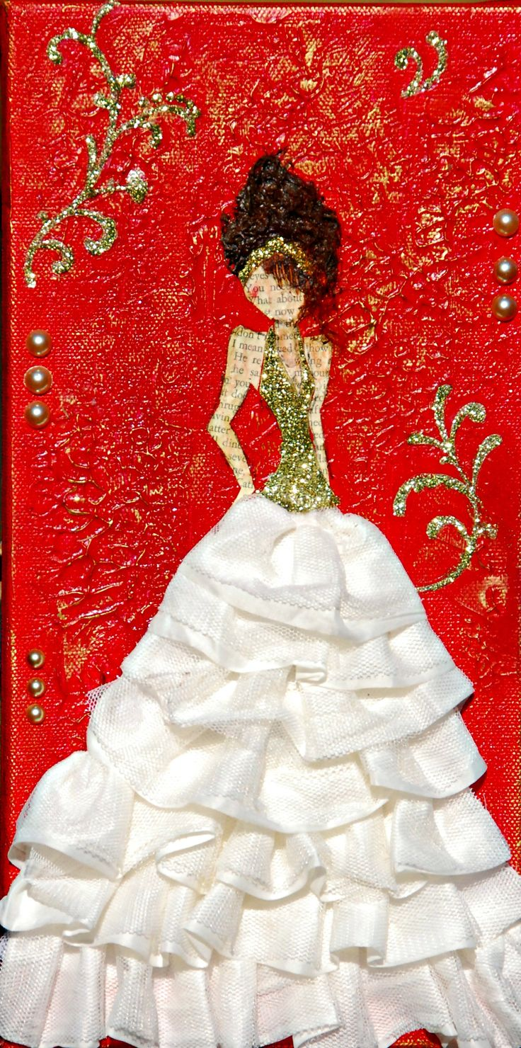 "Mixed media girl on 6x12 canvas by Bette Brody Calling her ""Belle"""