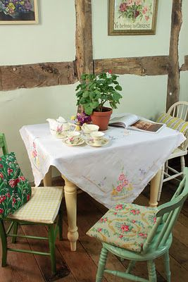 Cottage Kitchen Tables 438 best cottage dining images on pinterest cottages dining rooms cottage style kitchen table with a beautifully embroidered linen cloth the perfect way to dress the table for tea workwithnaturefo