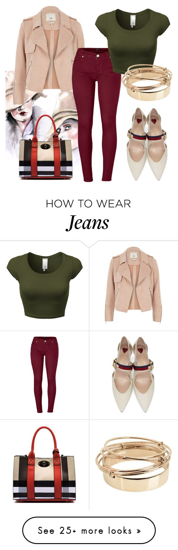 """burgundy jeans"" by alexa-vrabel on Polyvore featuring Gucci, River Island, Venus and Valentino"
