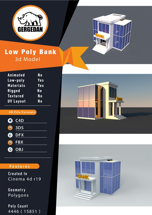 Low Poly Bank Fully Customizable 3d Model Of A Building 3d 3dmodel 3ddesign Vr Ar Area Bankbuilding Building Cartoon Cartoon In 2020 Low Poly 3d Model Poly