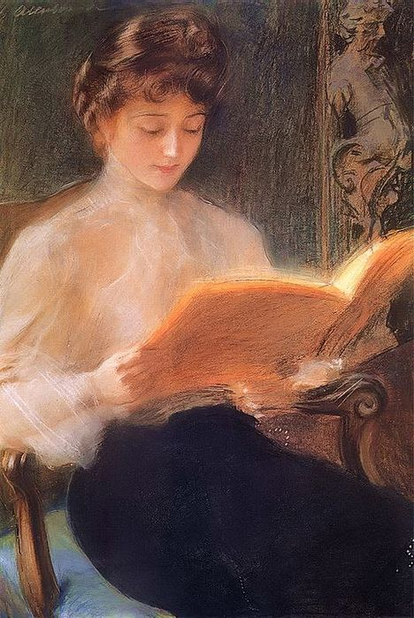 """""""Reading"""" by Jacek Malczewski (1854 - 1929), 1899"""