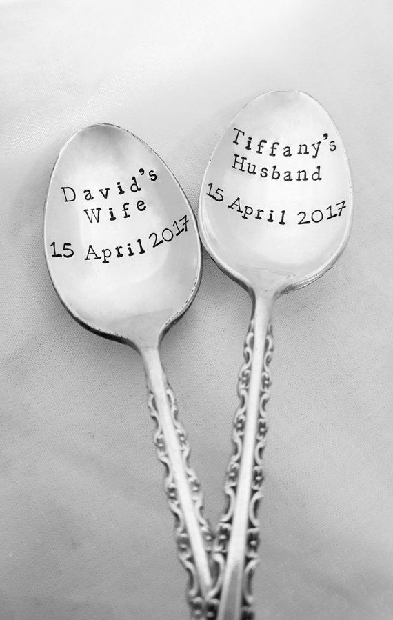 Custom Husband & Wife Spoons w/ Wedding Date by SweetMintHandmade