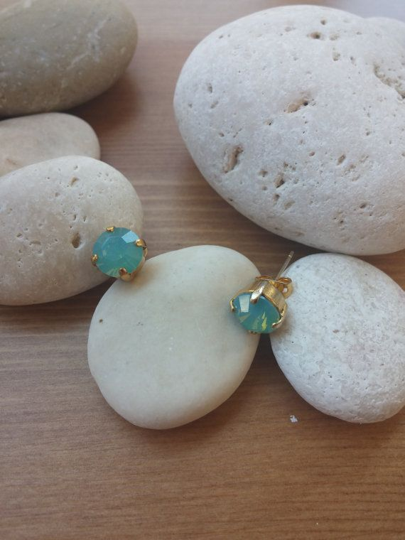 earrings with blue stone by toocharmy on Etsy