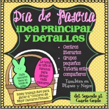 This main idea product in Spanish will help both the low level learner as well as the high learners. It can be used to introduce or review main idea and details.The package includes 10 Easter baskets with a main idea sentence, 10 Easter eggs with a detail, 10 Easter bunnies with a detail, student recording sheet, two differentiated review activities, and an answer key.