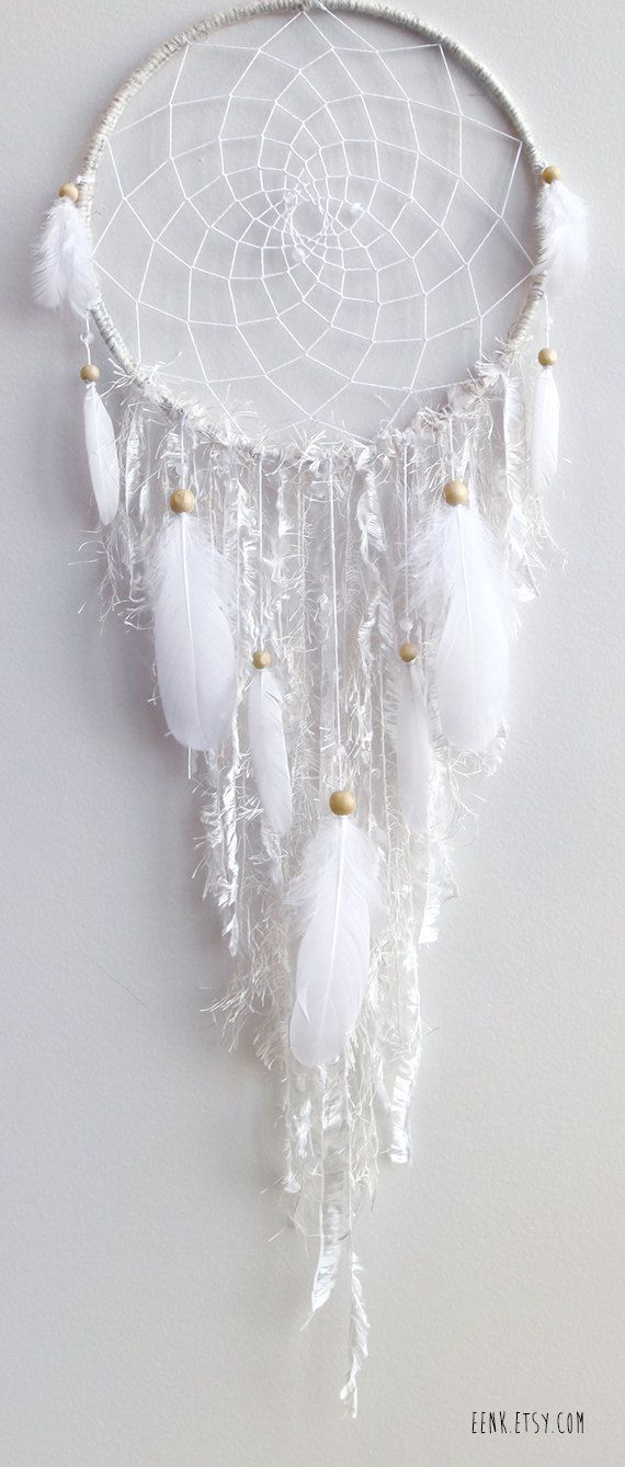The White Arctic Fox Native Style Woven Dreamcatcher by eenk