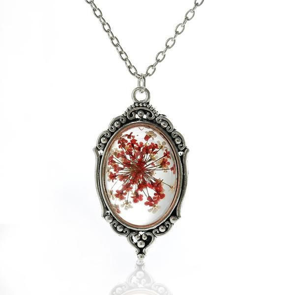 CL DRIED FLOWER  antique silver locket