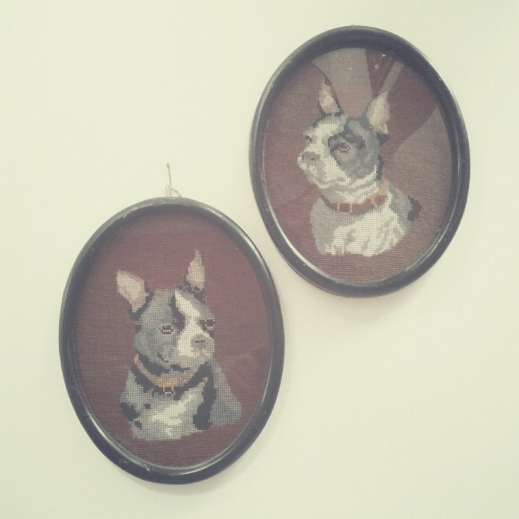 Embroidered French Bulldogs, bought on flea market in Kraków, Poland. / Photo by @Tomasz Jurecki #fleastyle #wysokipolysk #fleamarket