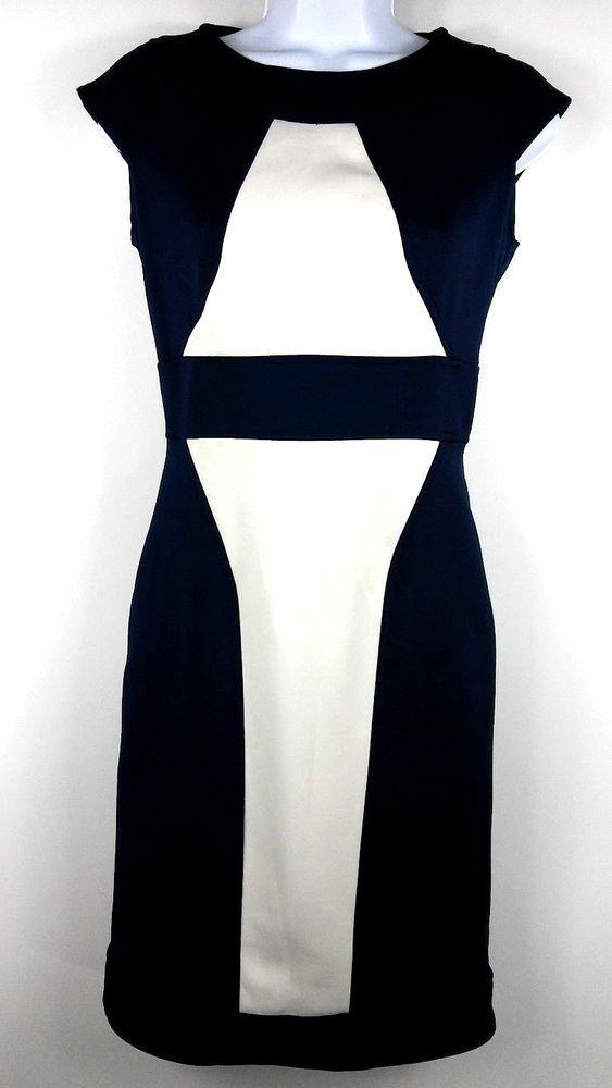 af7c66d5bd5 Julian Taylor Women s Sheath Dress Size 4 Navy Blue White Color Block Cap  Sleeve  JulianTaylor  Sheath