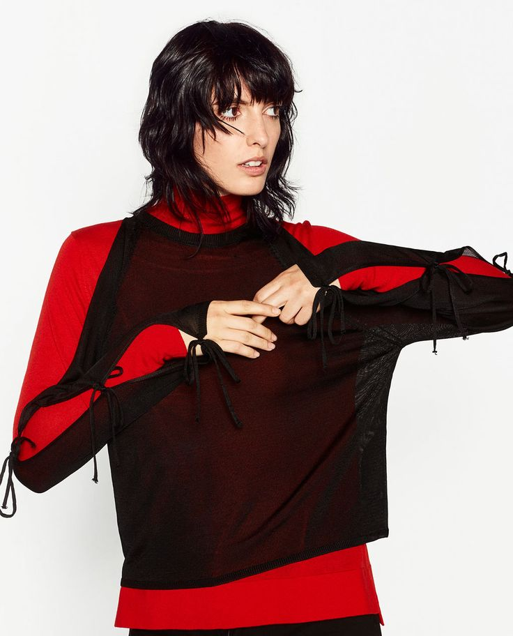 ZARA - WOMAN - SWEATER WITH TIE SLEEVES
