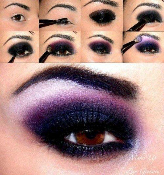 Best Ideas For Makeup Tutorials    Picture    Description  Purple Smokey Eyes | Smokey Eye Night Out Makeup Tutorials    - #Makeup https://glamfashion.net/beauty/make-up/best-ideas-for-makeup-tutorials-purple-smokey-eyes-smokey-eye-night-out-makeup-tutorials/