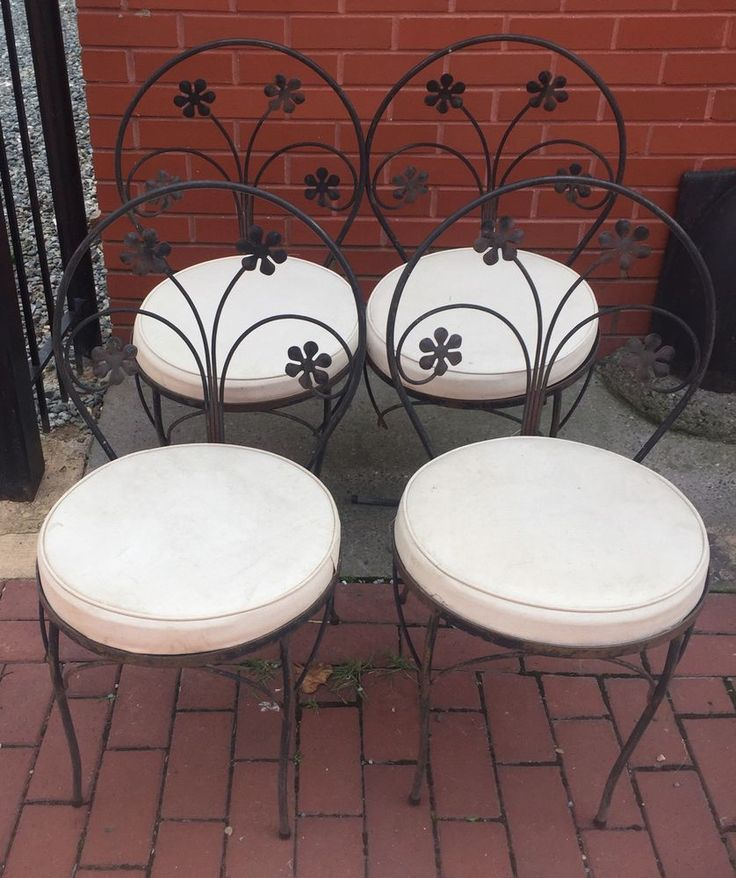 Set Of 4 Salterini Style Ice Cream Parlor Bistro Chairs Wrought Iron Cushion  | eBay