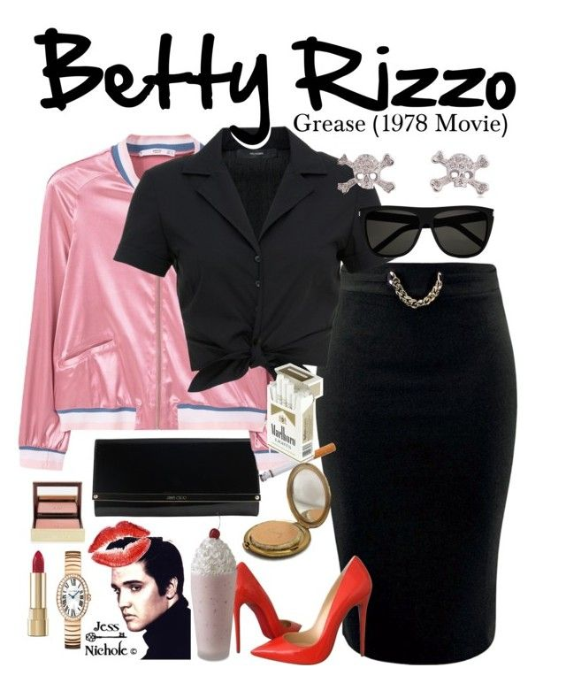 """""""Grease (1978 Movie): Betty Rizzo"""" by jess-nichole ❤ liked on Polyvore featuring Jimmy Choo, MANGO, Hallhuber, Yves Saint Laurent, Christian Louboutin, Coty, Vivienne Westwood, Dolce&Gabbana, Tom Ford and Cartier"""
