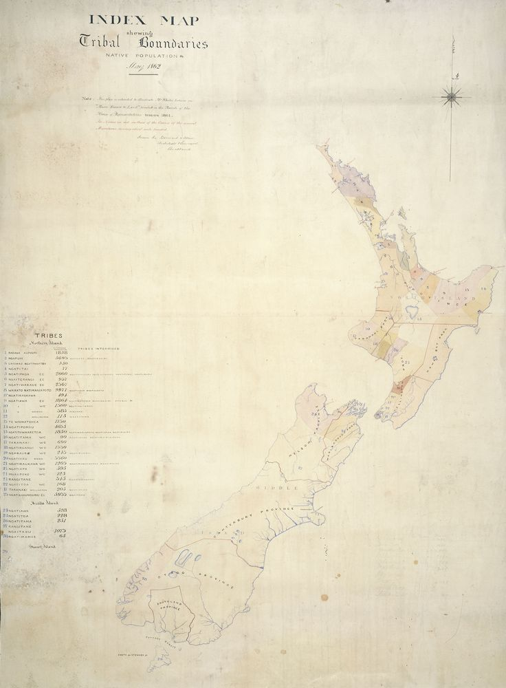 1862 Tribal Boundaries map. Uriohau Ngati Whatua in West Auckland and Kaipara = No.3 (yellow) population 550 Maori. Ngati Tai in Auckland = No.4 (pink) population 77 Maori. Sir George Grey Special Collections, Auckland Libraries, NZ Map 4327