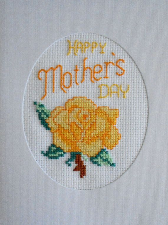 Mother's Day Cross Stitched Yellow Rose Greeting by stitchnmomma, $7.50