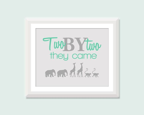 Twin Nursery Art, Two by Two with Elephants, Giraffes, Monkeys, Twin Boys Twin Girls or Boy Girl Twin Nursery Decor