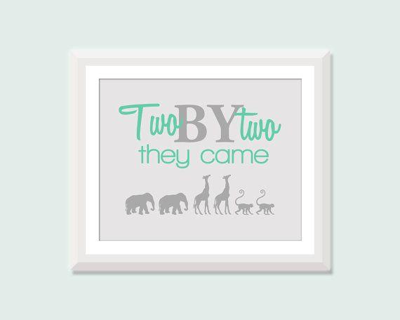 Twin Nursery Art, Two by Two with Elephants, Giraffes, Monkeys, Twin Boys Twin Girls or Boy Girl Twin Nursery Decor