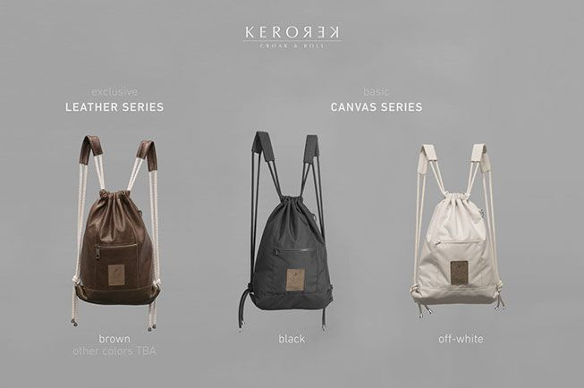 Drawstring backpack collection with personality for my brand Kerorek. The Kerorek bags will be soon available for pre-order in Indiegogo. The bag will be available both in leather and in all vegan canvas series.