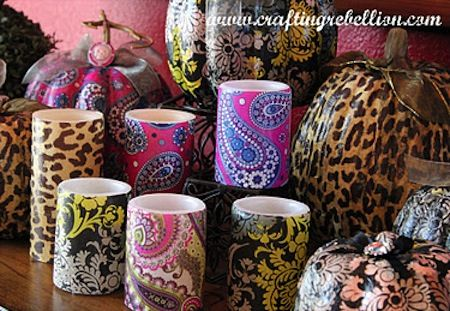 Vera Bradley candles decoupaged with napkins